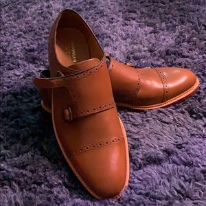 Bostonian Leather Cognac Monk-strap Loafers